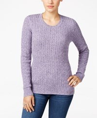 Karen Scott Marled Cable Knit Sweater Only At Macy's Purple Dynasty Combo