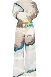 Maison Martin Margiela Mm6 Printed Crepe Jumpsuit Gray