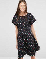 Trollied Dolly Swing For Your Supper Butterfly Print Dress Black