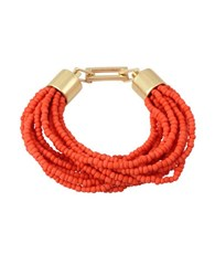 Kenneth Cole Coral Canyon Seed Bead Multi Row Half Stretch Bracelet Red