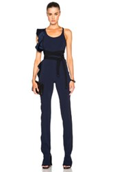 David Koma Side Ruffle Belted Jumpsuit In Black Blue