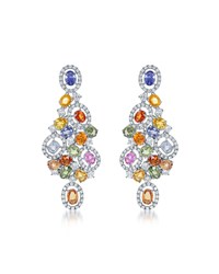 Diana M. Jewels 18K White Gold Multicolor Sapphire And Diamond Chandelier Earrings Women's