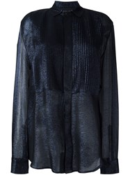 Michel Klein Sheer Ribbed Shirt Blue