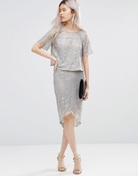 Girls On Film Metallic Pencil Skirt Silver