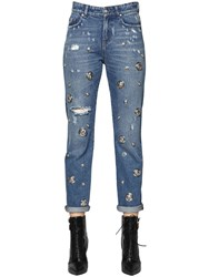 Versus Studded Boyfriend Fit Cotton Denim Jeans
