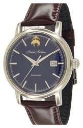 Brooks Brothers 'Core' Automatic Leather Strap Watch 42Mm Black Silver Navy