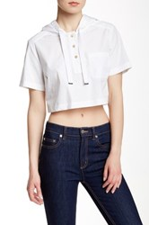 Marc By Marc Jacobs Hooded Cropped Tee White