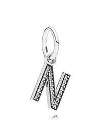Pandora Design Pandora Pendant Sterling Silver And Cubic Zirconia Letter N Moments Collection Silver Clear