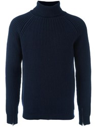 Bark Turtleneck Jumper Blue