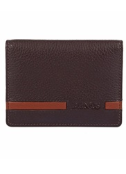 Dents Stripe Bi Fold Wallet Brown