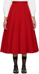 Junya Watanabe Red Neoprene Pleated Skirt