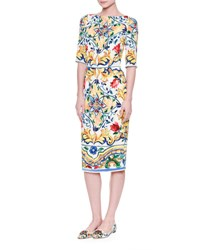 Dolce And Gabbana Half Sleeve Maiolica Print Sheath Dress Maiolica Fdo.Bian