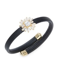 Rj Graziano Stone Accented Floral Faux Leather Bracelet Gold