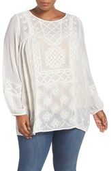 Lucky Brand Plus Size Women's Embroidered Babydoll Top Natural