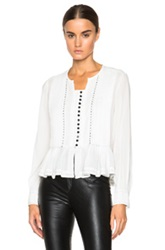 Isabel Marant Randal Pleated Cotton Crepe Blouse In White