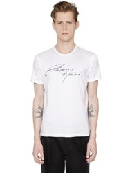Emporio Armani Logo Embroidered Cotton Jersey T Shirt
