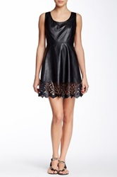 Doe And Rae Pleather Laser Cut Dress Black