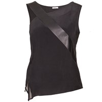 Sankt Leather Strap Silk Blouse Black