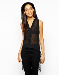 Rock And Religion Corine Crochet Back High Low Shirt With Fringe Detail Black