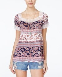 Ultra Flirt Juniors' Printed Crochet Trim Top Boho Night