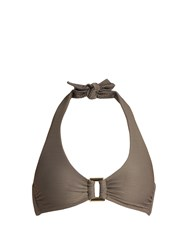 Heidi Klein Huntington Beach Halterneck Bikini Top Grey