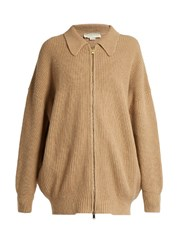 Stella Mccartney Zip Front Wool Cardigan Beige