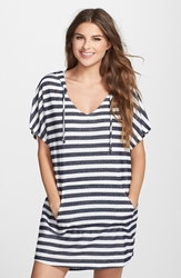 J Valdi Stripe French Terry Cover Up Hoodie Navy White