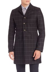 J. Lindeberg Wolger Windowpane Technical Wool Coat Almost Black