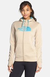 The North Face Women's 'Half Dome' Full Zip Fleece Hoodie Oatmeal Heather Turquoise