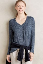 Anthropologie V Neck Pocket Tee Navy