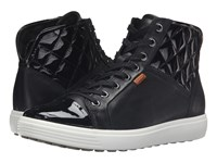 Ecco Soft 7 Quilted High Top Black Black Powder Women's Lace Up Casual Shoes