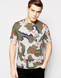 Evisu T Shirt All Over Seagull Camo Print
