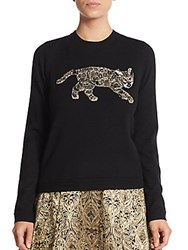 Alice Olivia Beaded Bengal Tiger Pullover Black