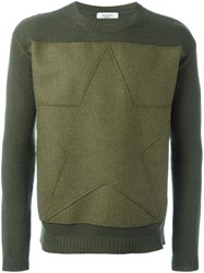 Valentino Star Patch Jumper Green