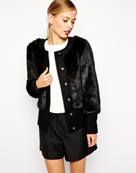 Ted Baker Coat In Faux Fur Black