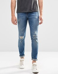 Pull And Bear Pullandbear Super Skinny Jeans In Mid Wash With Rips Blue