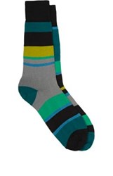 Paul Smith Men's Odd Striped Mismatched Mid Calf Socks Green No Color Green No Color