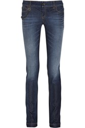 Gucci Chain Trimmed Mid Rise Skinny Jeans Mid Denim