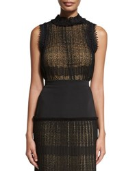 Alexis Mills Sleeveless Plisse Lace Top Black