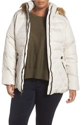Larry Levine Plus Size Women's Quilted Down And Feather Fill Jacket With Faux Fur Trim