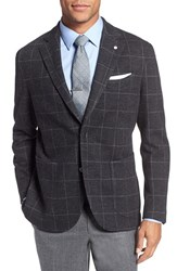 Lubiam Men's Classic Fit Windowpane Wool And Cotton Sport Coat