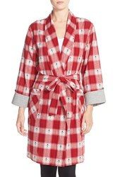 Women's Lucky Brand Flannel Robe Red Bohemian Plaid