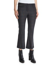 Brunello Cucinelli Prince Of Wales Cropped Flare Pants Charcoal Gray