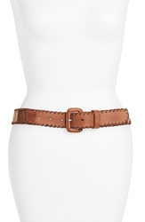 Lucky Brand 'Diamond Rug' Leather Belt Natural