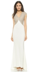 Reem Acra Sik Crepe Sheath Gown White Silver