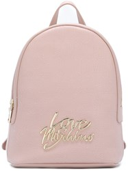 Love Moschino Logo Plaque Backpack Pink And Purple