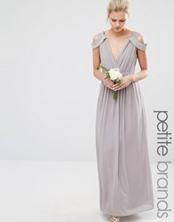 Tfnc Petite Wedding Cold Shoulder Wrap Front Maxi Dress Opal Gray Grey