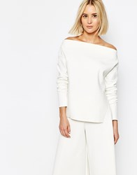 Weekday Off The Shoulder Co Ord Top With Side Slit Detail Off White