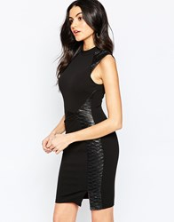 Lipsy High Neck Bodycon Dress With Pu Detail Multi