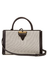 Loewe Barcelona Canvas And Leather Tote Black Cream